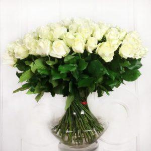 Букет 101 белая роза 60см