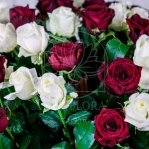 Корзина цветов 101 роза красная и белая РФ