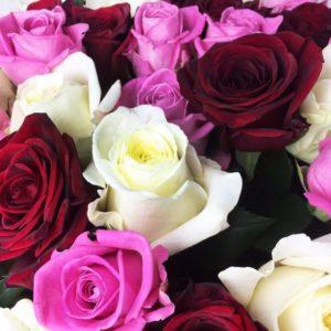 Букет 101 роза микс 50см РФ