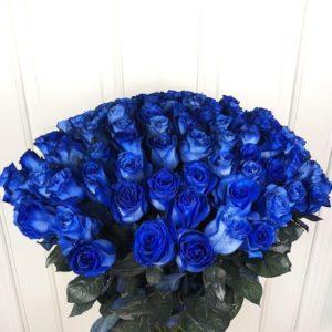 Букет 101 синяя роза Premium (цвет года 2020 по версии Pantone)