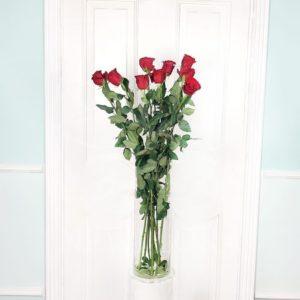 Букет 9 красных роз высотой 110см