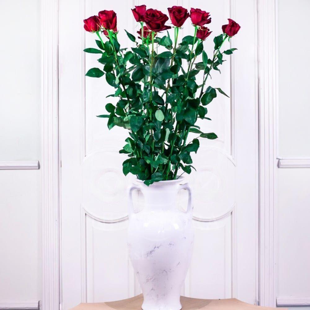 Букет 11 красных роз высотой 140см