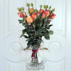 Букет 11 персиковых роз 60см сорт Victorian Free Spirit (Premium)