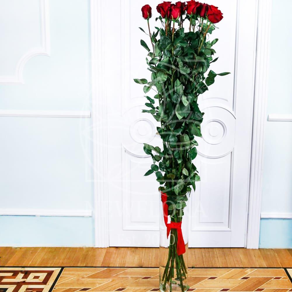 Букет 15 красных роз высотой 180см