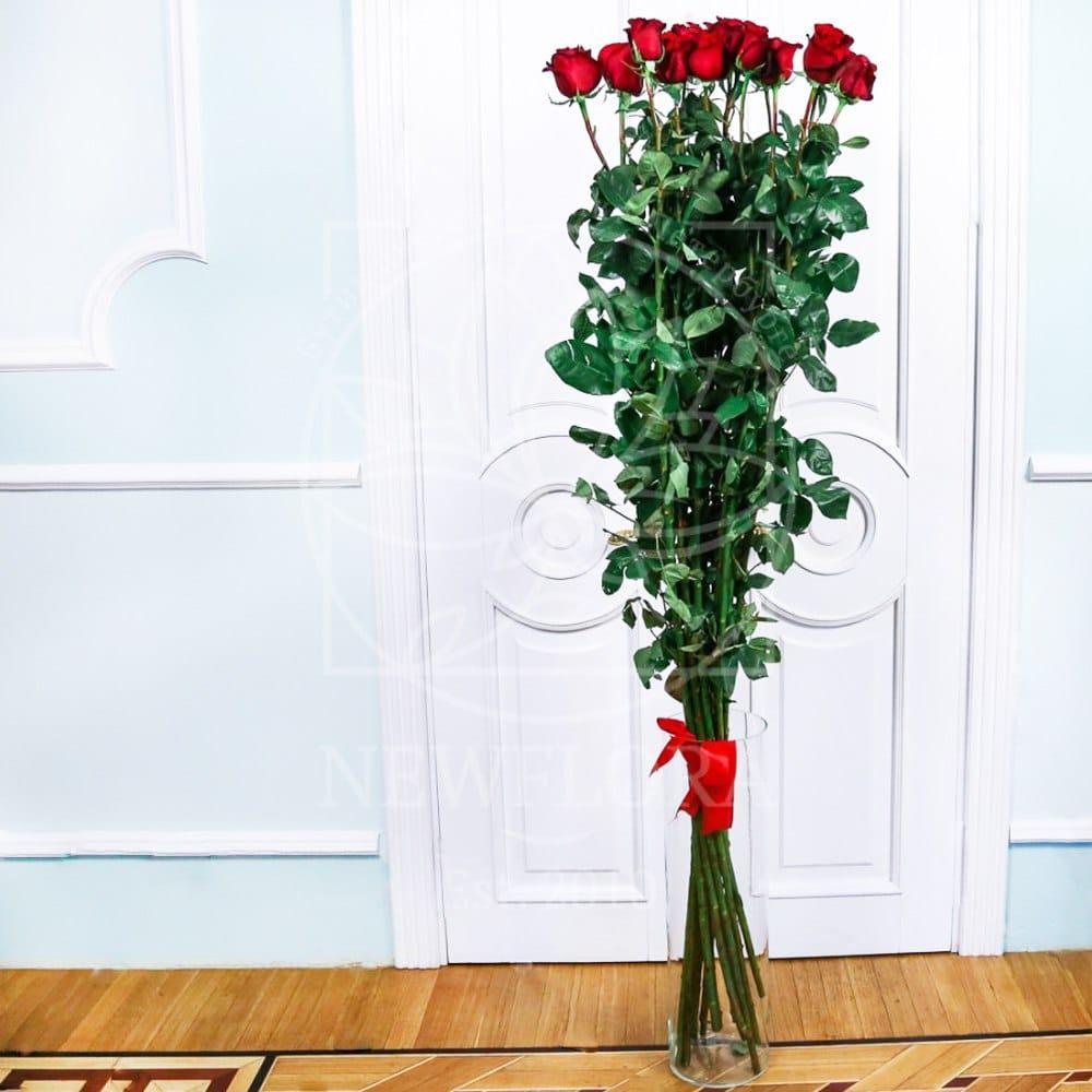 Букет 15 красных роз высотой 200см