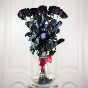 Букет 15 черных роз