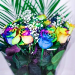 Букет 15 радужных роз (Premium) с зеленью