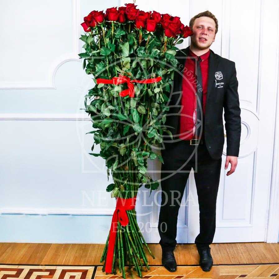 Букет 101 красная роза высотой 180см