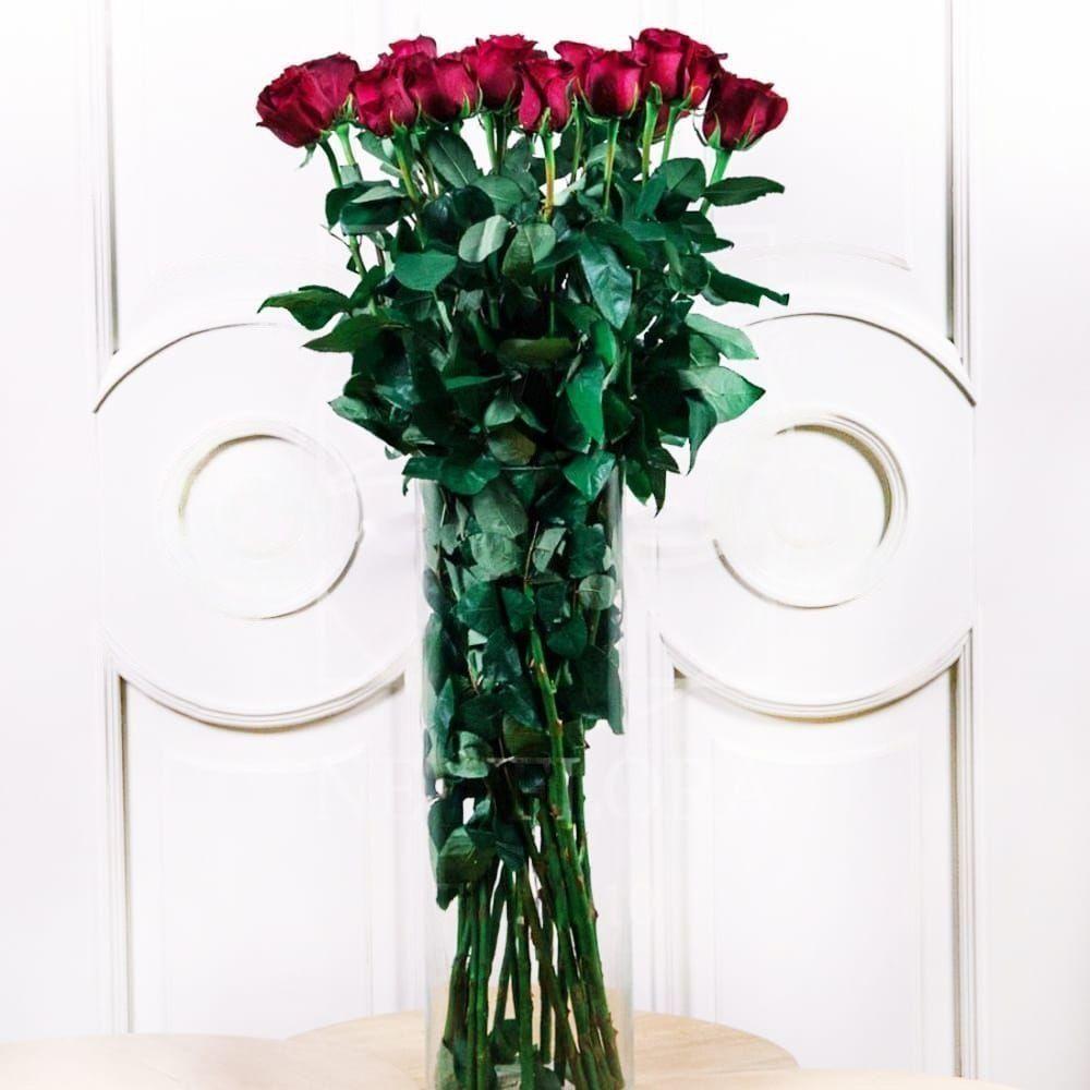 Букет 19 красных роз высотой 100см
