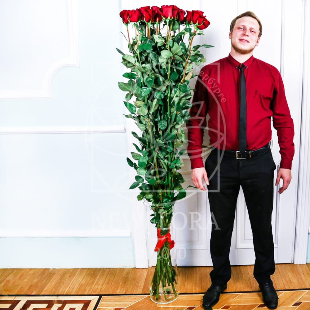 Букет 19 роз высотой 180см