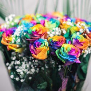 Букет 19 радужных роз с зеленью
