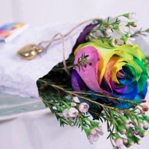 1 радужная роза с оформлением и кулон-сердечко из латуни (Italy, Stilars est.1972)