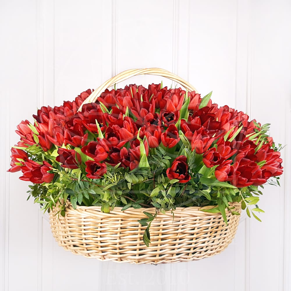 Корзина цветов 201 тюльпан (D60см)