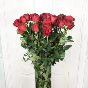 Букет 25 красных роз высотой 110см