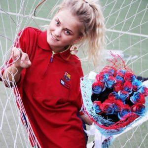 Букет 25 сине-гранатовых роз (под заказ)