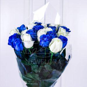 Букет 25 белых и синих роз (Premium)