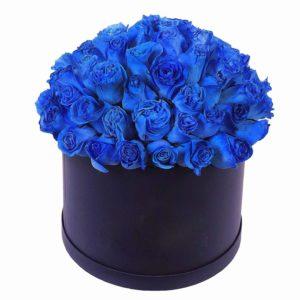 45 синих роз (Premium) в шляпной коробке