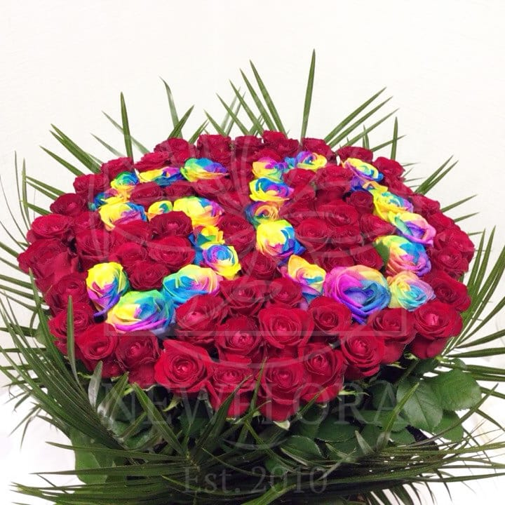 Корзина цветов 91 роза на юбилей 50 лет