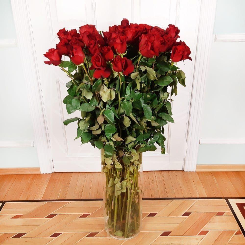 Букет 51 красная роза высотой 120см