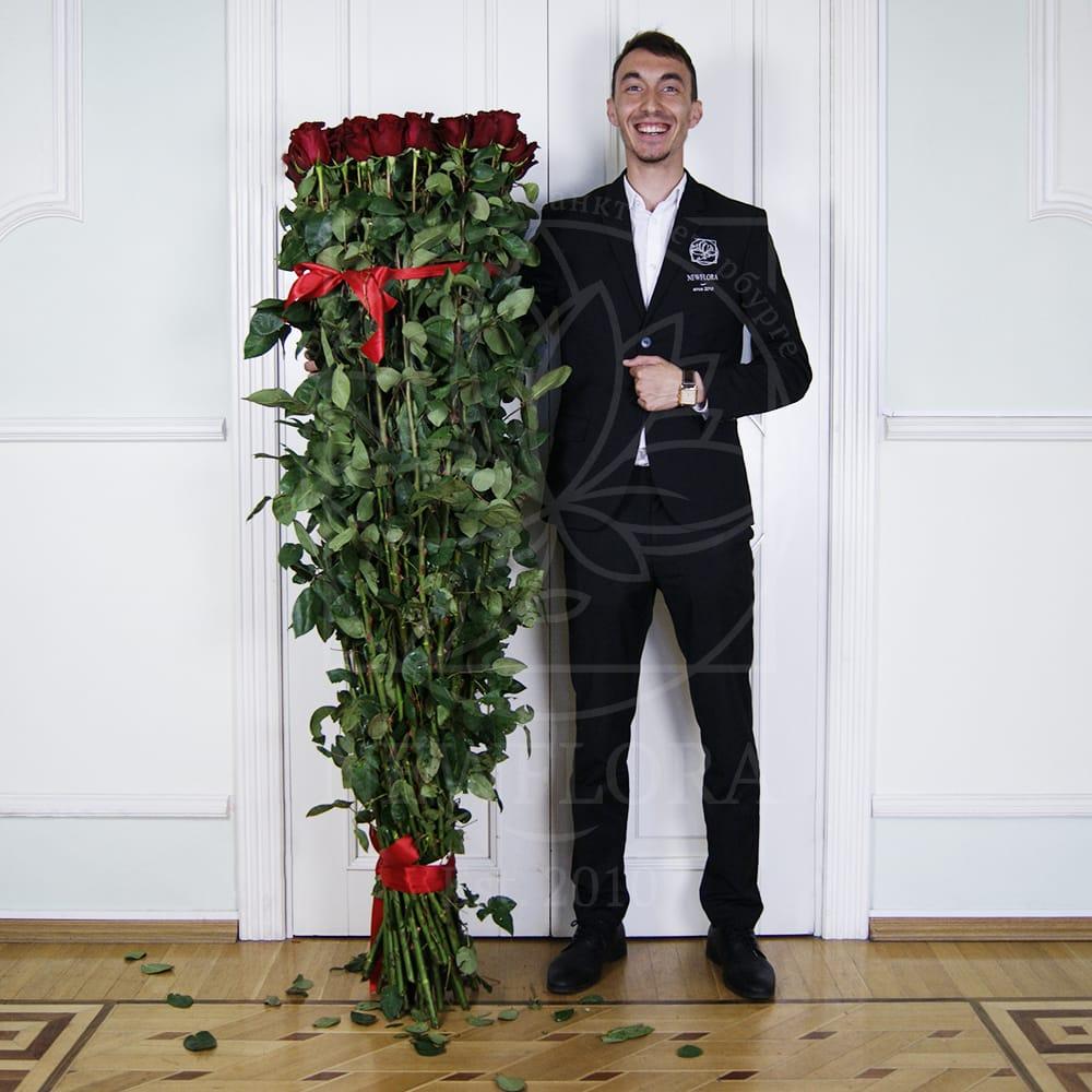 Букет 51 красная роза высотой 170см