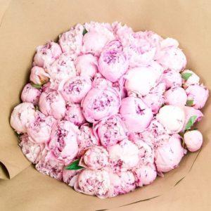 Букет 51 розовый пион