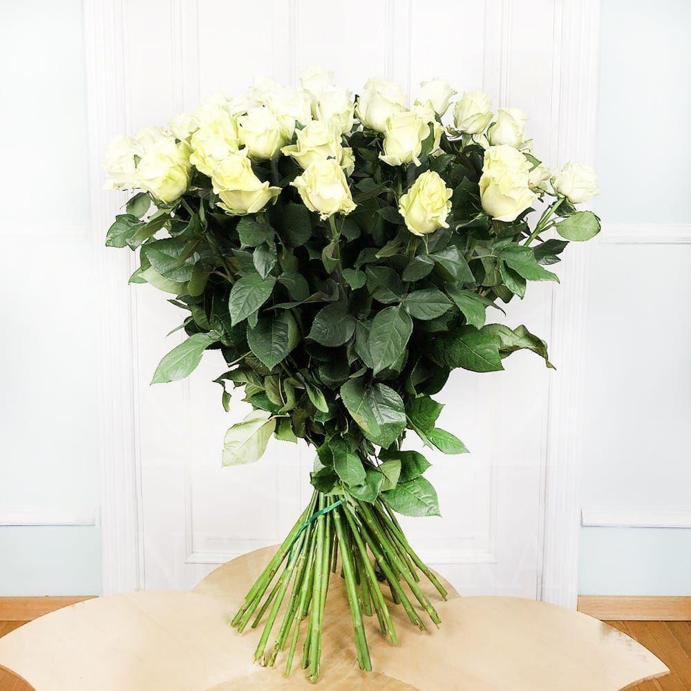Букет 51 белая роза высотой 100см