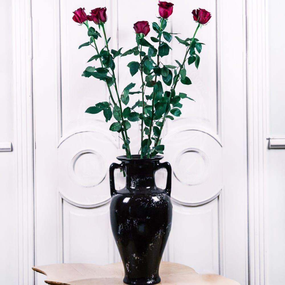 Букет 5 красных роз высотой 140см