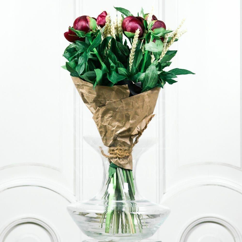 Букет 5 красных пионов с рожью