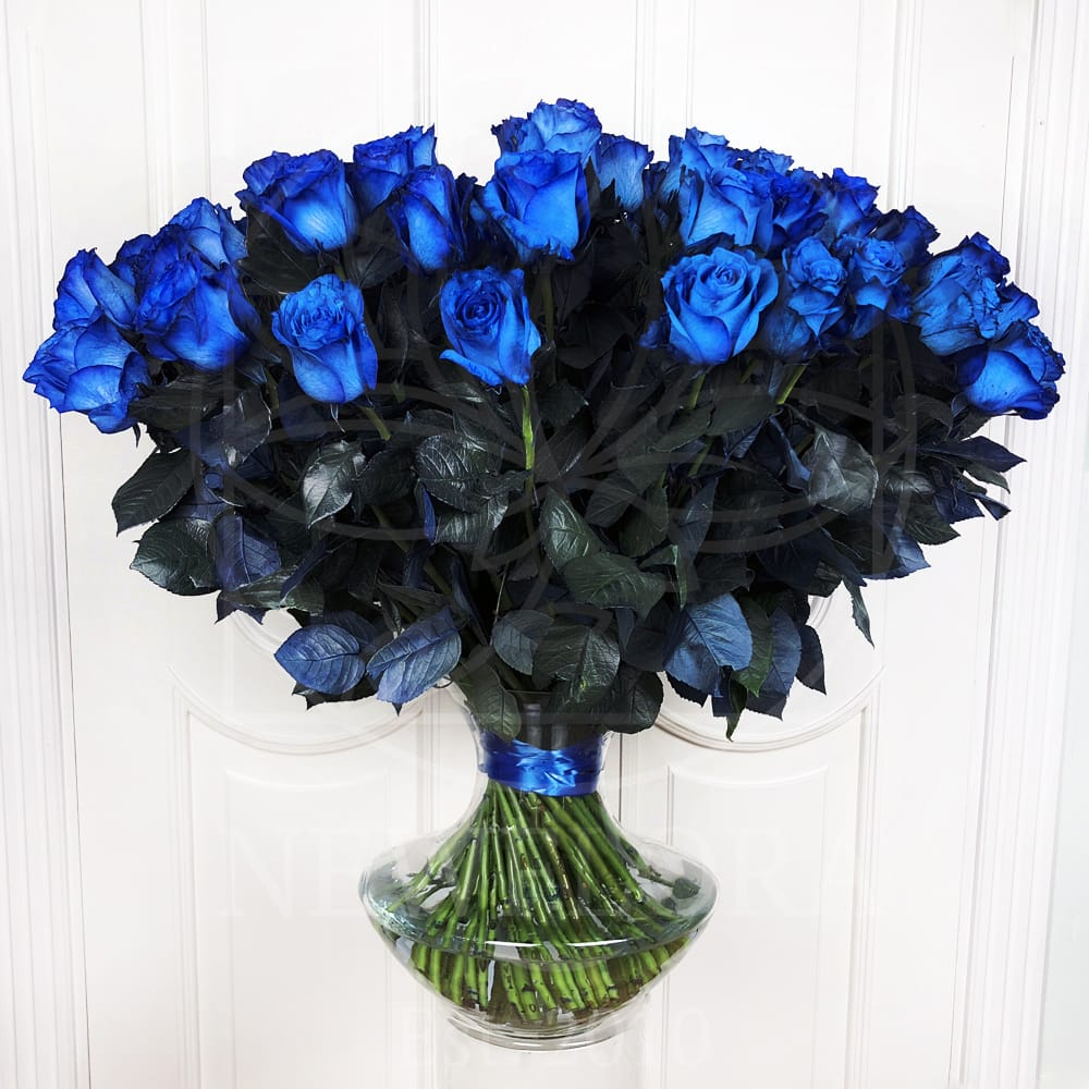 Букет 75 синих роз (Premium)