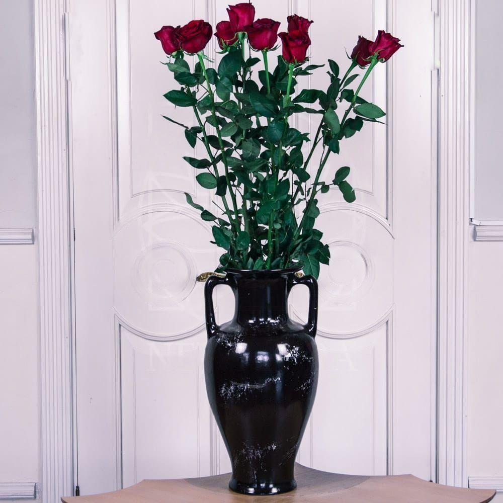 Букет 9 красных роз высотой 130см