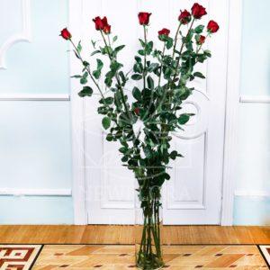 Букет 9 красных роз высотой 180см