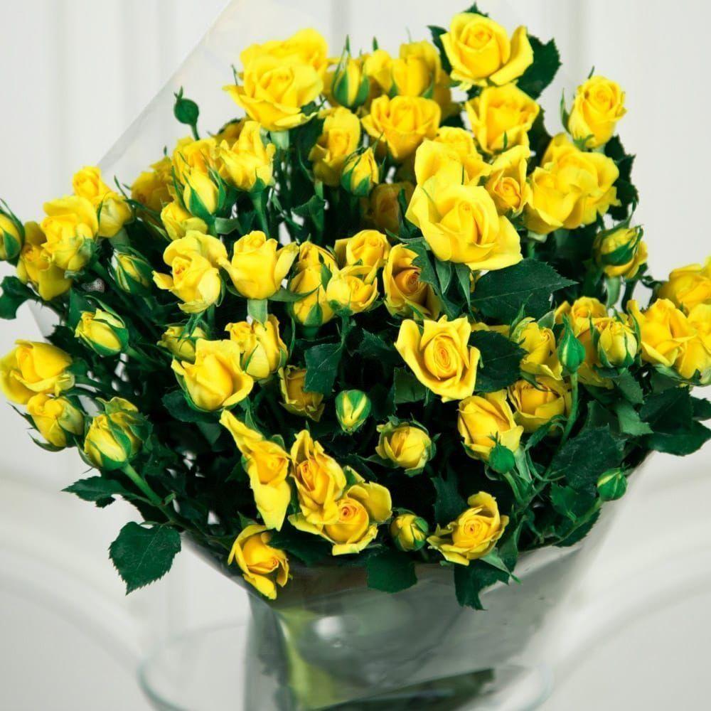 Букет 9 желтых кустовых роз