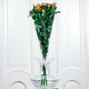 Букет 9 рыжих кустовых роз
