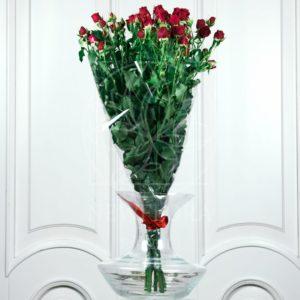 Букет 9 красных кустовых роз