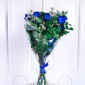 Букет 9 синих роз (Premium) с зеленью