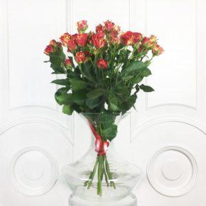 Букет 9 красно-желтых кустовых роз