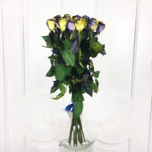 Букет 19 желто-синих роз