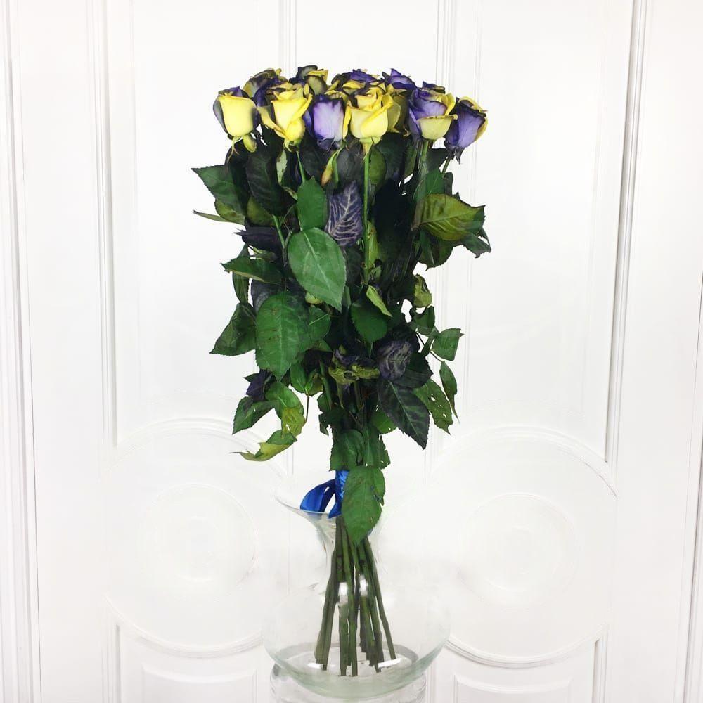 Букет 19 желто-синих роз (под заказ)