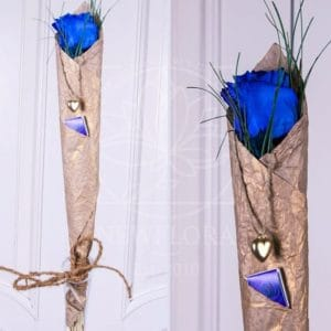 1 синяя роза с оформлением и кулон-сердечко из латуни (Italy, Stilars est.1972)