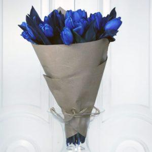 Букет 25 синих тюльпанов