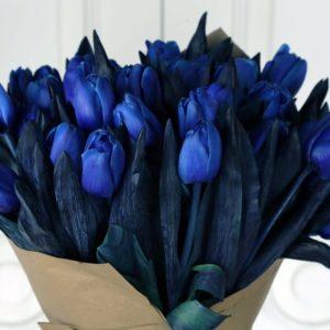 Букет 51 синий тюльпан