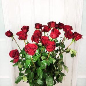 Букет 19 красных роз высотой 160см