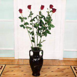 Букет 5 красных роз высотой 150см