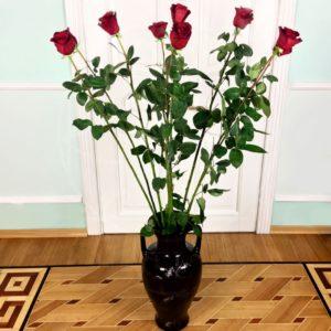 Букет 9 красных роз высотой 150см
