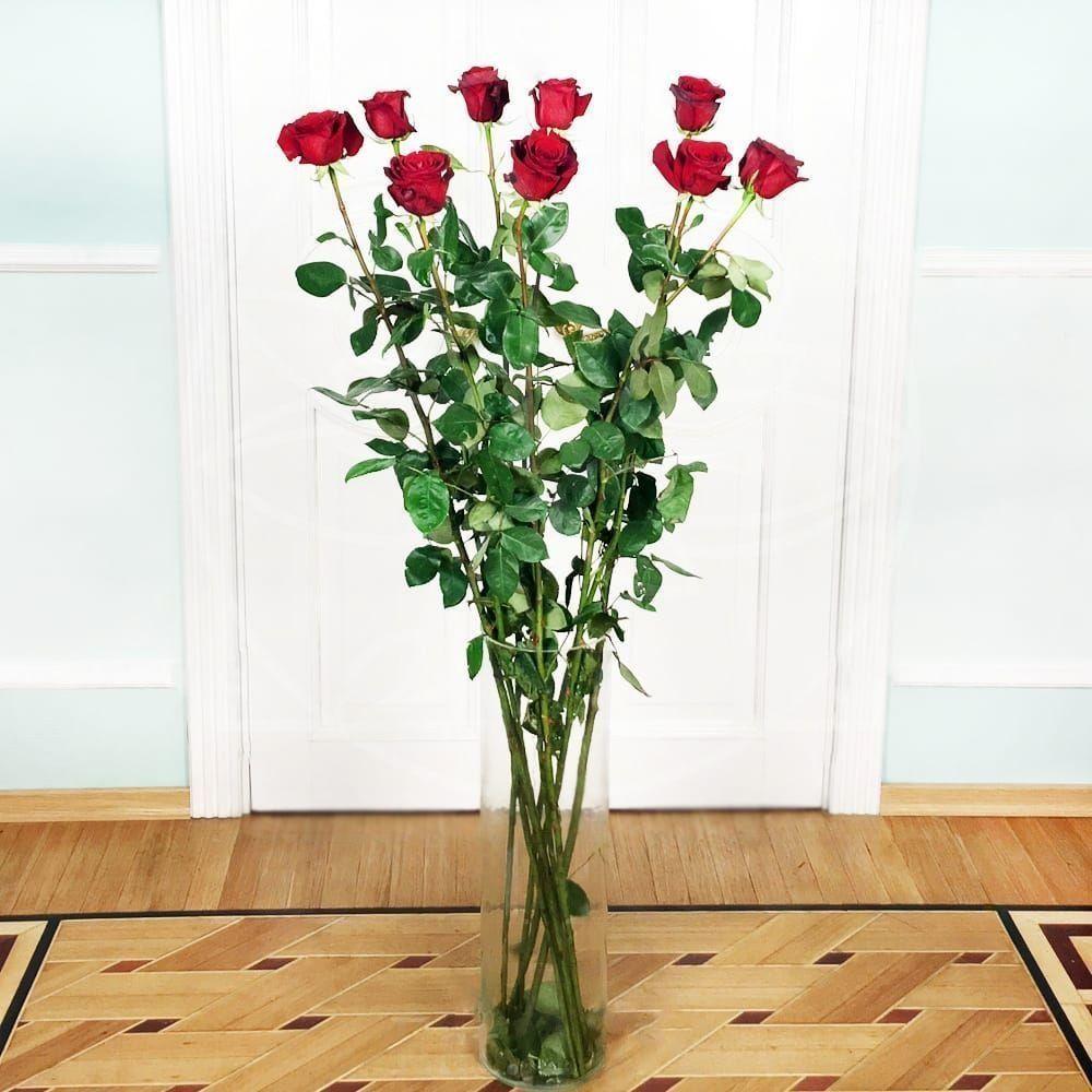 Букет 9 красных роз высотой 160см