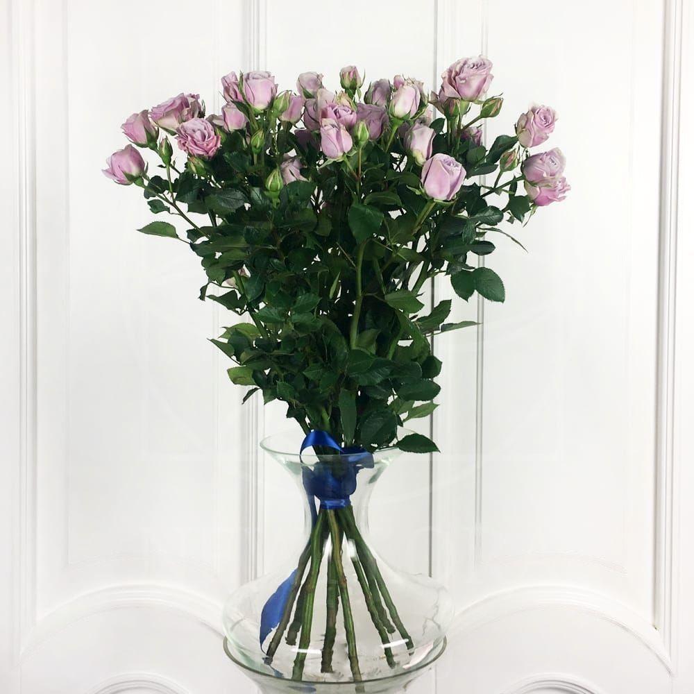 Букет 9 сиреневых кустовых роз (60-70см)