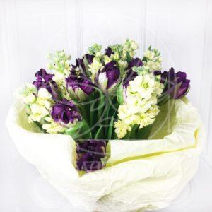 Букет 19 фиолетовых тюльпанов с маттиолой