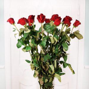 Букет 15 красных роз высотой 120см