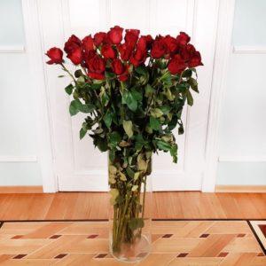Букет 35 красных роз высотой 120см