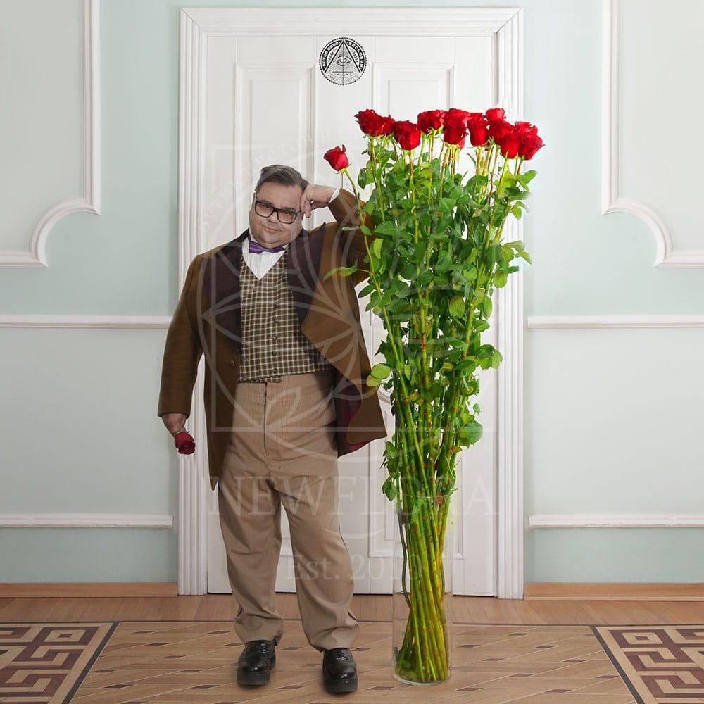 Букет 25 красных роз высотой 180см (by Сергей Рост)
